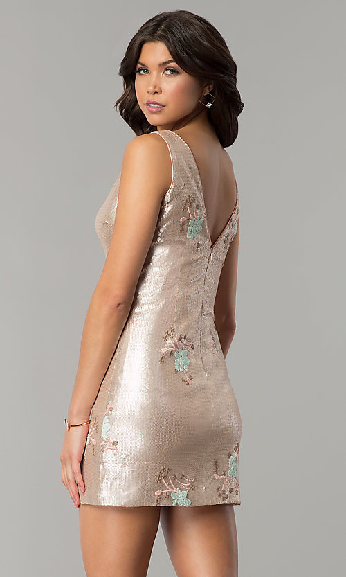 Image of short gold sequin embroidered v-neck party dress. Style: MT-8957 Back Image