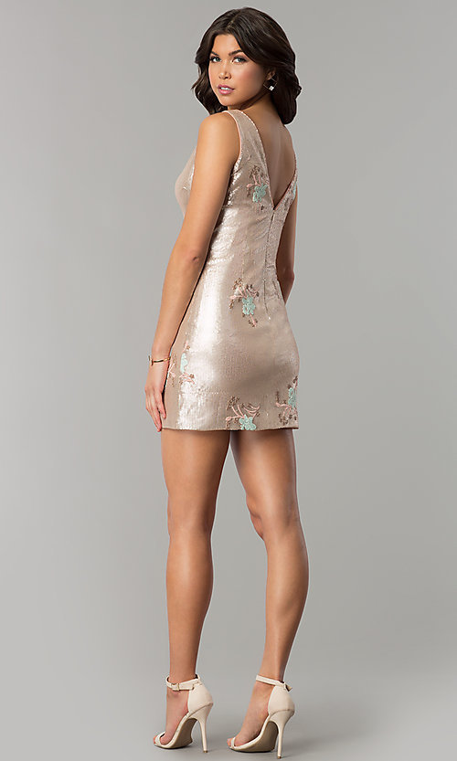 Image of short gold sequin embroidered v-neck party dress. Style: MT-8957 Detail Image 3