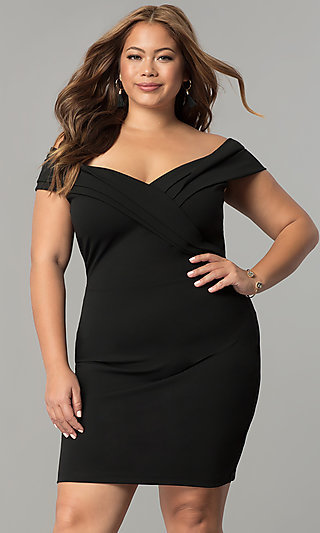 Off-the-Shoulder Short Plus-Size Wedding-Guest Dress
