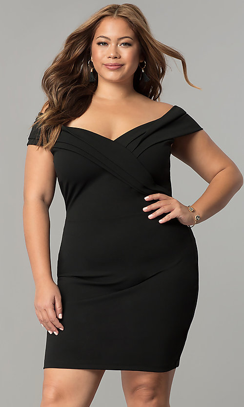 Image of off-the-shoulder short plus-size wedding-guest dress. Style: SY-IXD5148VP Front Image