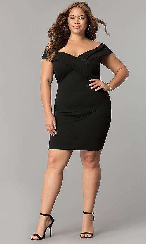 Image of off-the-shoulder short plus-size wedding-guest dress. Style: SY-IXD5148VP Detail Image 1