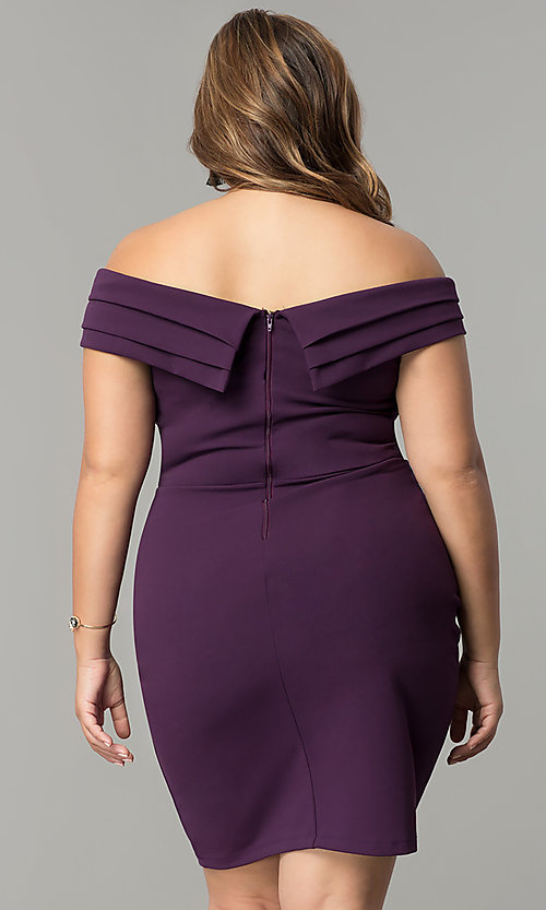 Image of off-the-shoulder short plus-size wedding-guest dress. Style: SY-IXD5148VP Back Image