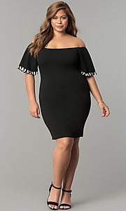 Image plus-size short off-the-shoulder black party dress. Style: SY-XD22242A Detail Image 2