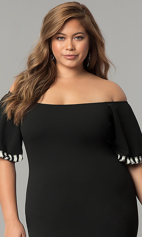 Image plus-size short off-the-shoulder black party dress. Style: SY-XD22242A Detail Image 1
