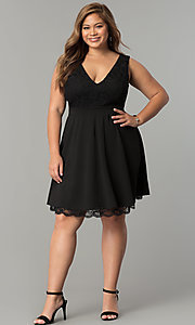 Image of plus-size lace-bodice short black party dress. Style: SY-IXD5046AP Detail Image 2