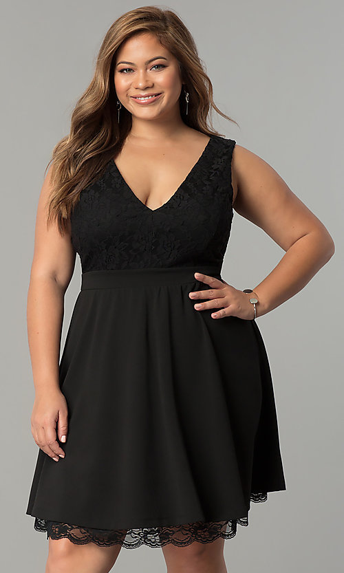 80aeb3a4cb0 Image of plus-size lace-bodice short black party dress. Style  SY