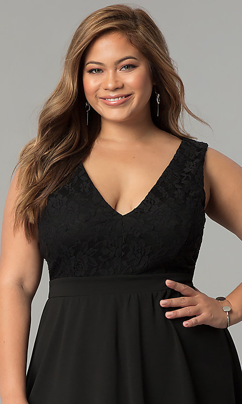 Image of plus-size lace-bodice short black party dress. Style: SY-IXD5046AP Detail Image 1