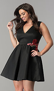 Image of v-neck short black plus-size cocktail dress. Style: SY-IXD5032VP Front Image