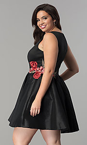 Image of v-neck short black plus-size cocktail dress. Style: SY-IXD5032VP Back Image
