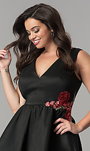 Image of v-neck short black plus-size cocktail dress. Style: SY-IXD5032VP Detail Image 1