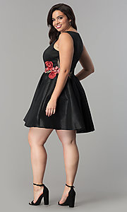 Image of v-neck short black plus-size cocktail dress. Style: SY-IXD5032VP Detail Image 3