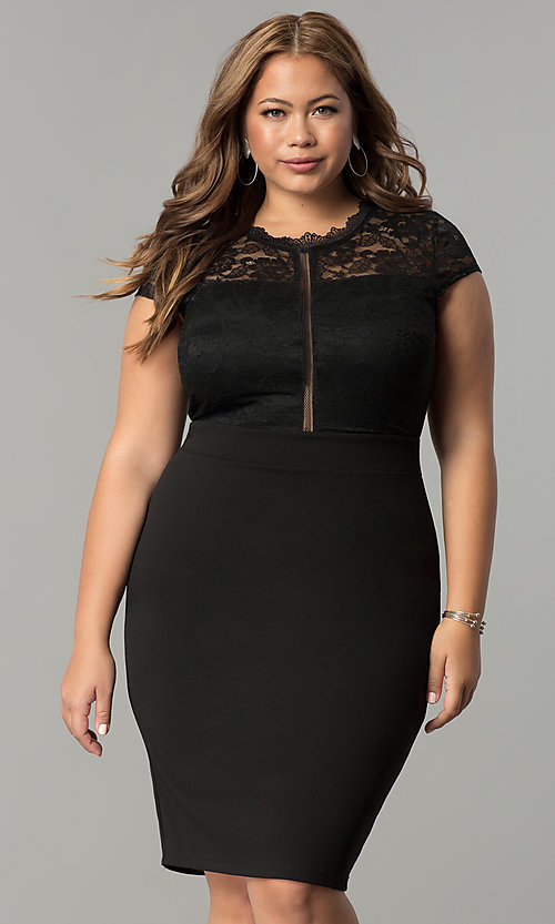 Image Of Plus Size Short Wedding Guest Party Dress With Lace Style