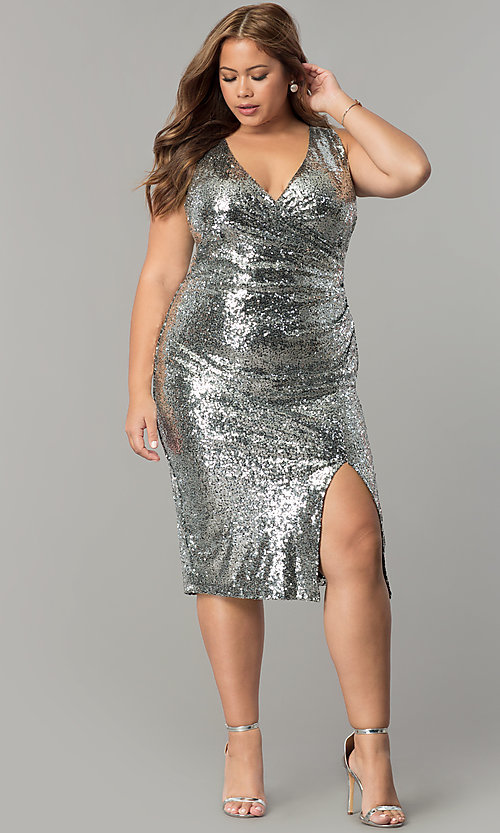 Plus-Size Short Sequin Holiday Party Dress