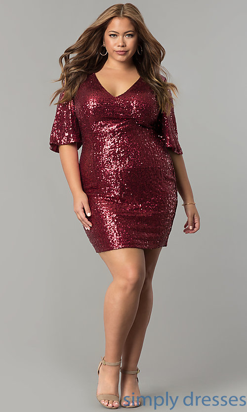 Bell-Sleeved Short Plus-Size Sequin Holiday Dress