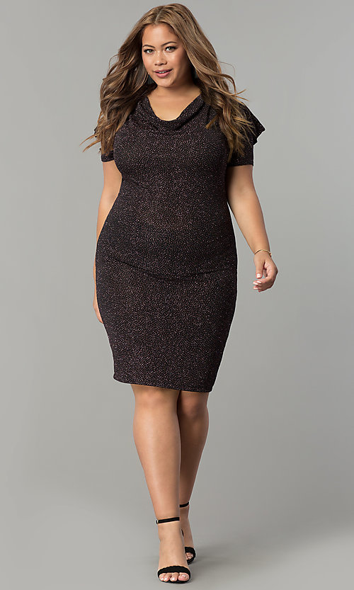 Short Plus-Size Glitter-Print Holiday Party Dress