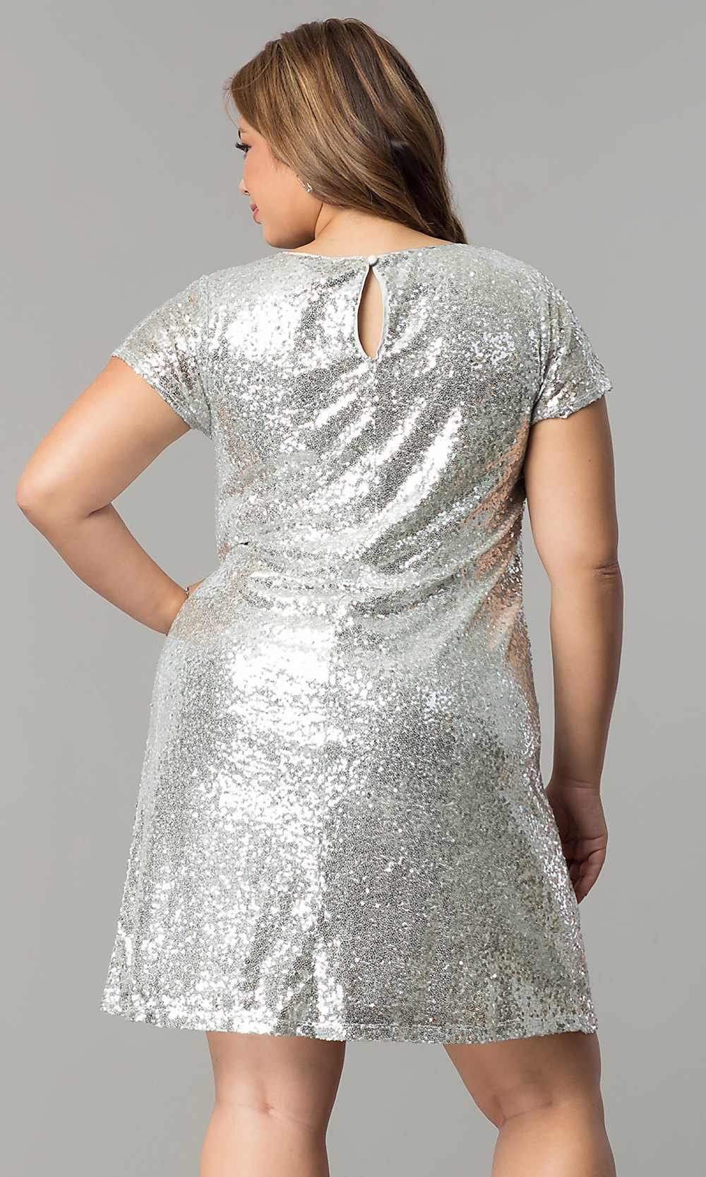 7fbf311dd510 Image of plus-size short sequin holiday dress with embroidery. Style: SY-.  Tap to expand