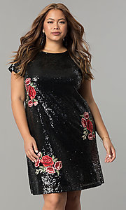 Image of plus-size short sequin holiday dress with embroidery. Style: SY-IXD4865VP Detail Image 3