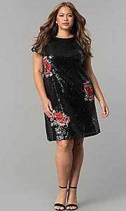 Image of plus-size short sequin holiday dress with embroidery. Style: SY-IXD4865VP Detail Image 5