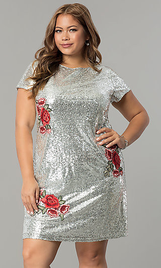 Plus-Size Short Sequin Holiday Dress with Embroidery