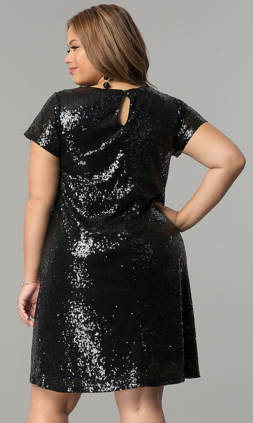 Image of plus-size short sequin holiday dress with embroidery. Style: SY-IXD4865VP Back Image
