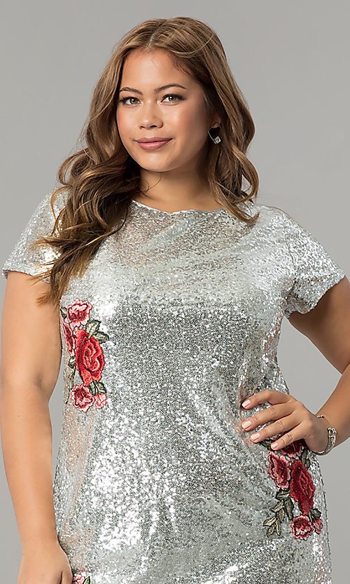 Image of plus-size short sequin holiday dress with embroidery. Style: SY-IXD4865VP Detail Image 1