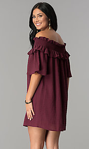 Image of bell-sleeved off-the-shoulder short casual dress. Style: SY-KD5413BK Back Image