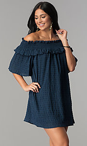 Image of bell-sleeved off-the-shoulder short casual dress. Style: SY-KD5413BK Detail Image 2