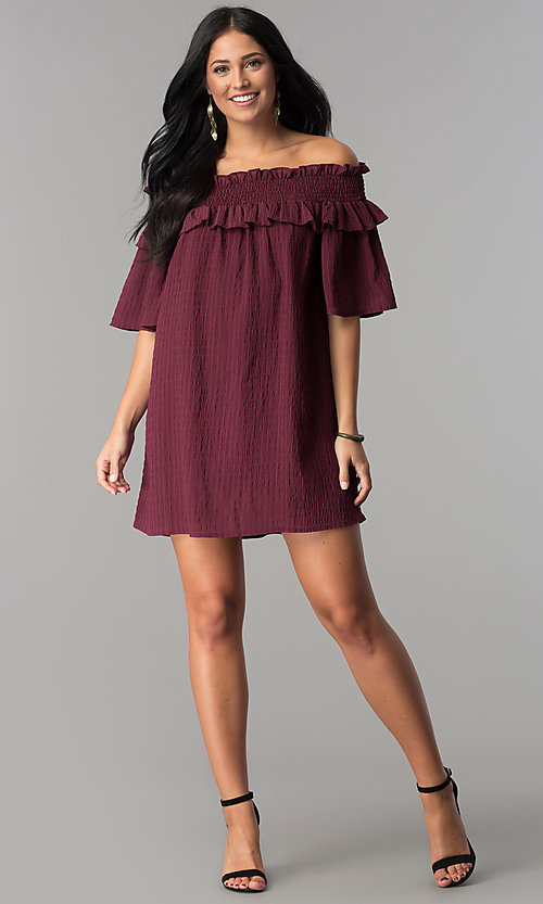 Image of bell-sleeved off-the-shoulder short casual dress. Style: SY-KD5413BK Detail Image 1