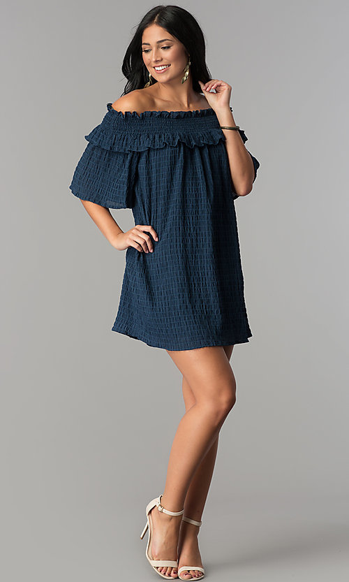 Image of bell-sleeved off-the-shoulder short casual dress. Style: SY-KD5413BK Detail Image 3