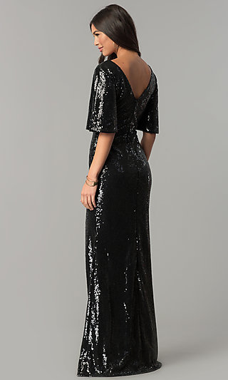 Sequin Long V Neck Formal Dress With Bell Sleeves