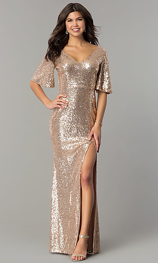 Glitter Cocktail Dresses Long