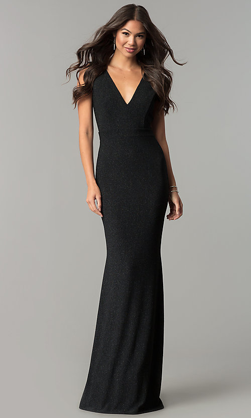 Image of v-neck long black formal evening dress with glitter. Style: SY-IDM5217VP Front Image