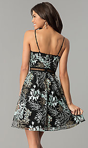 Image of black embroidered short party dress with v-neckline. Style: MD-D15532-CIQ Back Image