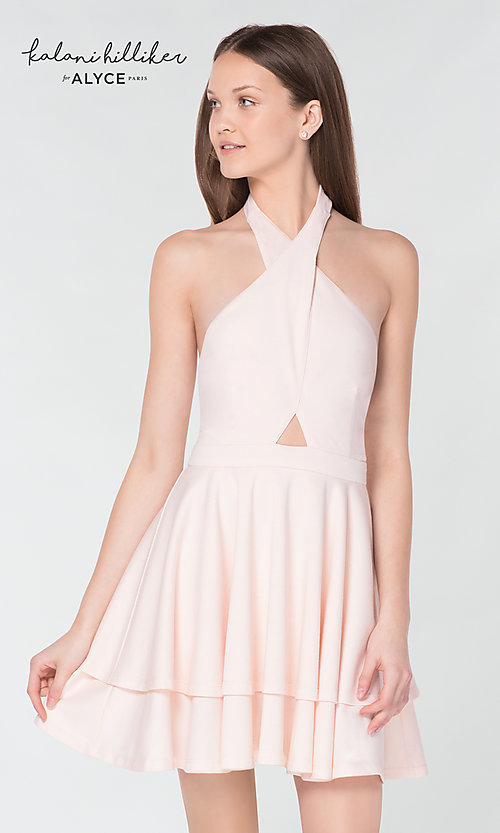Image of cross-over halter short homecoming party dress. Style: AL-KHKR100 Detail Image 1