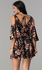 Image of floral-print cold-shoulder casual party dress. Style: ENC-CDF10377WS Back Image