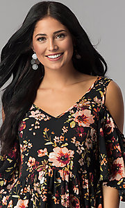 Image of floral-print cold-shoulder casual party dress. Style: ENC-CDF10377WS Detail Image 1