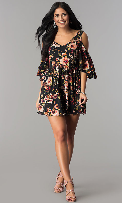 Image of floral-print cold-shoulder casual party dress. Style: ENC-CDF10377WS Detail Image 2