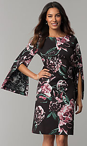 Image of floral-print split-sleeve knee-length party dress. Style: JX-1ZZG156H Front Image