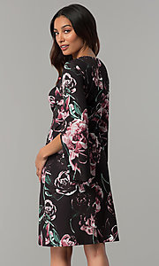 Image of floral-print split-sleeve knee-length party dress. Style: JX-1ZZG156H Back Image