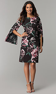 Image of floral-print split-sleeve knee-length party dress. Style: JX-1ZZG156H Detail Image 2