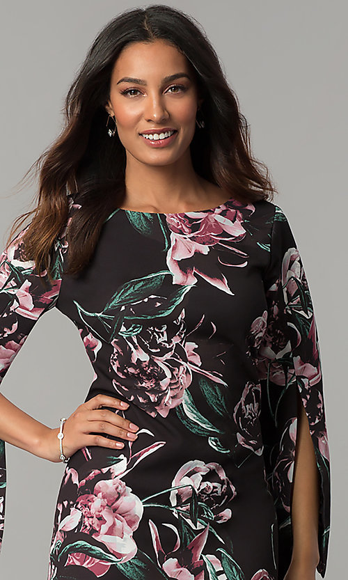 Image of floral-print split-sleeve knee-length party dress. Style: JX-1ZZG156H Detail Image 1