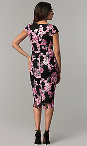 Image of floral-embroidered short black wedding-guest dress. Style: JX-1ZYO302Q Back Image