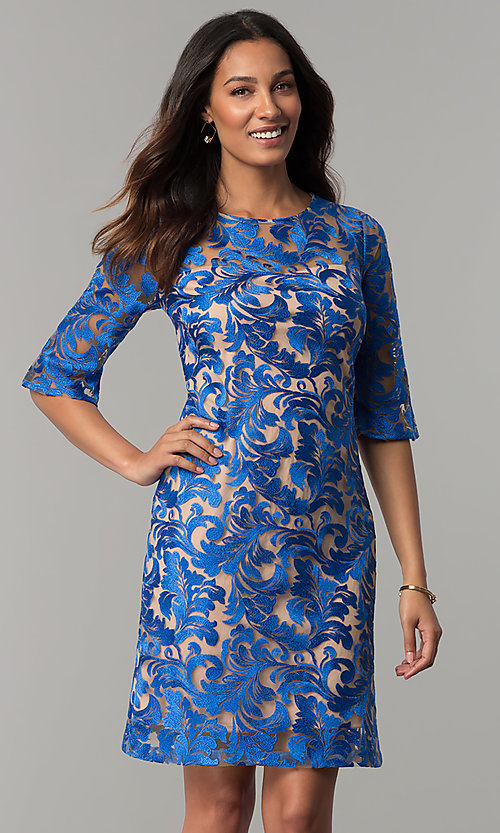 Image of short cocktail party embroidered dress with sleeves. Style: JX-1XAQ305Q Front Image