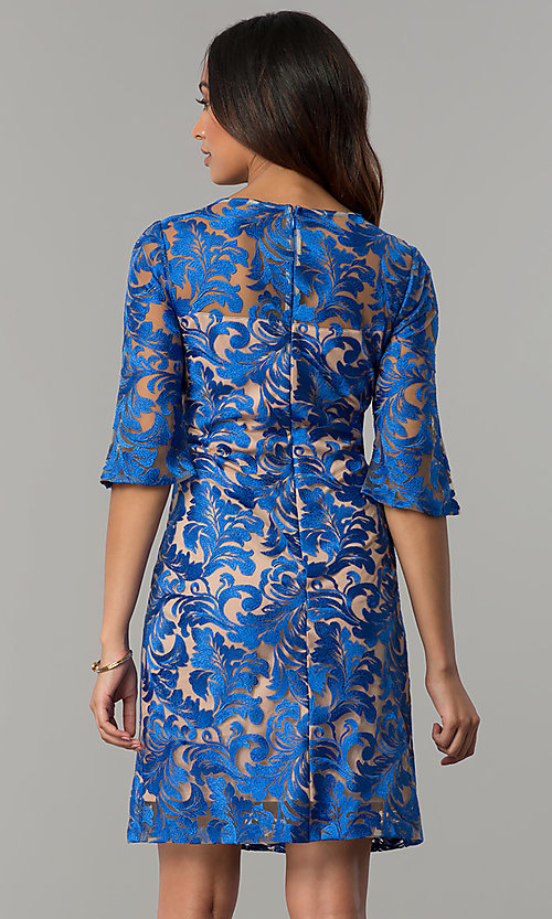 Image of short cocktail party embroidered dress with sleeves. Style: JX-1XAQ305Q Back Image
