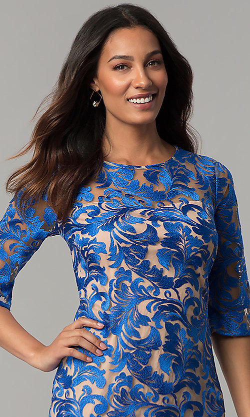 Image of short cocktail party embroidered dress with sleeves. Style: JX-1XAQ305Q Detail Image 1