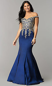 67e7ffce Image of JVNX by Jovani off-the-shoulder long navy prom dress. Style