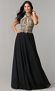 Image of JVNX by Jovani long chiffon prom dress with beading. Style: JO-JVNX60160 Detail Image 2