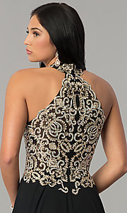 Image of JVNX by Jovani long chiffon prom dress with beading. Style: JO-JVNX60160 Detail Image 3
