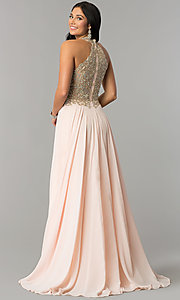 Image of JVNX by Jovani long chiffon prom dress with beading. Style: JO-JVNX60160 Front Image