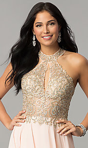 Image of JVNX by Jovani long chiffon prom dress with beading. Style: JO-JVNX60160 Detail Image 1